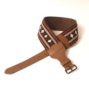 Anthropologie wide beaded brown leather belt EUC